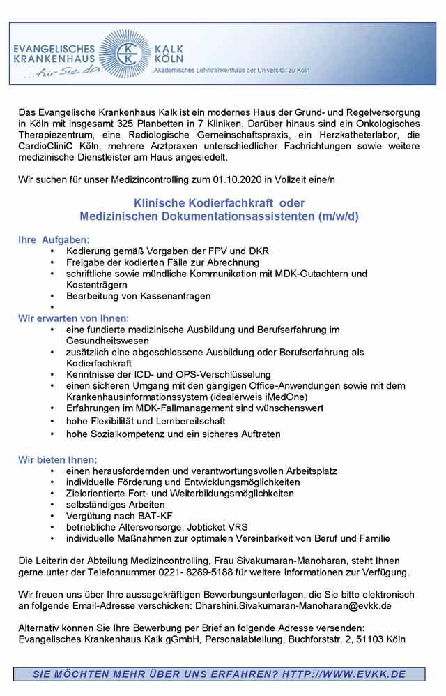 Evangelisches Krankenhaus Kalk gGmbH: Klinische Kodierfachkraft / Med. Dokumentationsassistent (m/w/d)