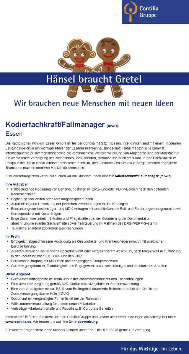 Contilia GmbH Essen: Kodierfachkraft / Fallmanager (m/w/d)