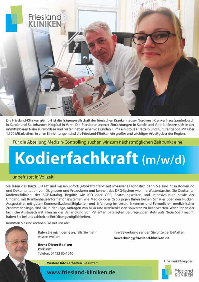 Friesland Kliniken gGmbH: Kodierfachkraft (m/w/d)