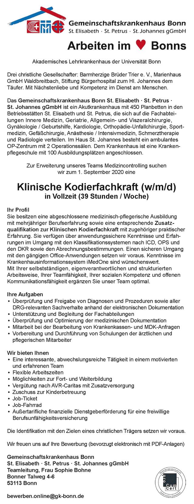Gemeinschaftskrankenhaus Bonn: Klinische Kodierfachkraft (w/m/d)