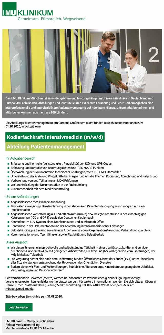 LMU Klinikum München: Kodierfachkraft Intensivmedizin (m/w/d)