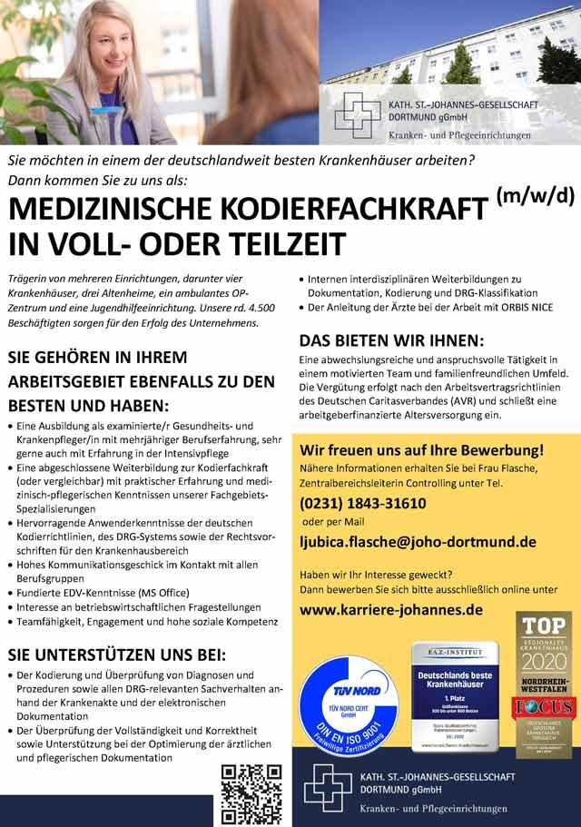 Katholische St.-Johannes-Gesellschaft Dortmund gGmbH: Medizinische Kodierfachkraft (m/w/d)