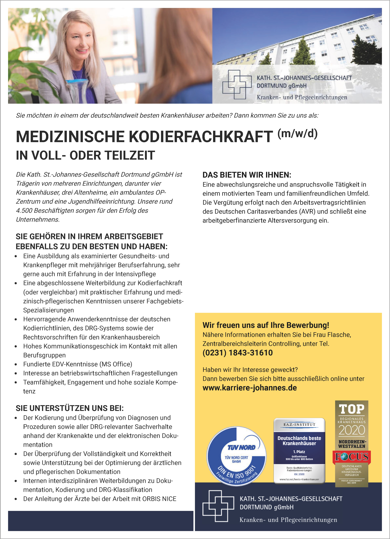 Kath. St.-Johannes-Gesellschaft Dortmund gGmbH: Medizinische Kodierfachkraft (m/w/d)