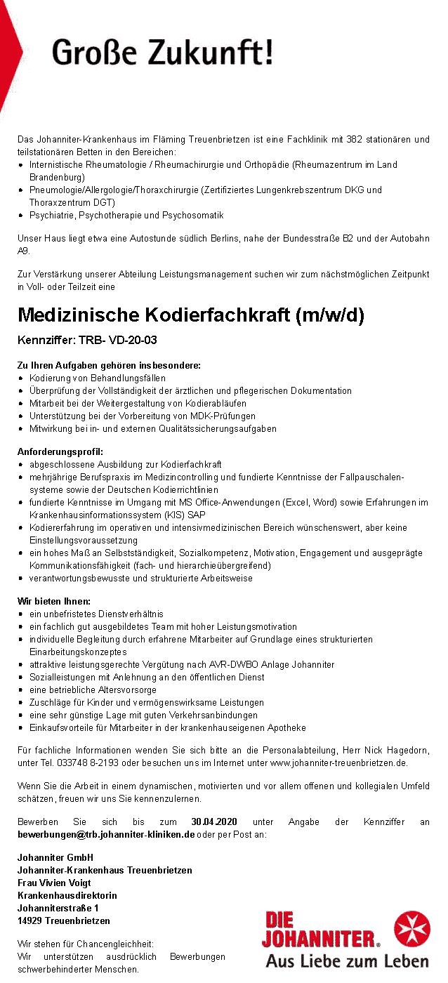 Johanniter Krankenhaus im Fläming Treuenbrietzen GmbH: Medizinische Kodierfachkraft (m/w/d)