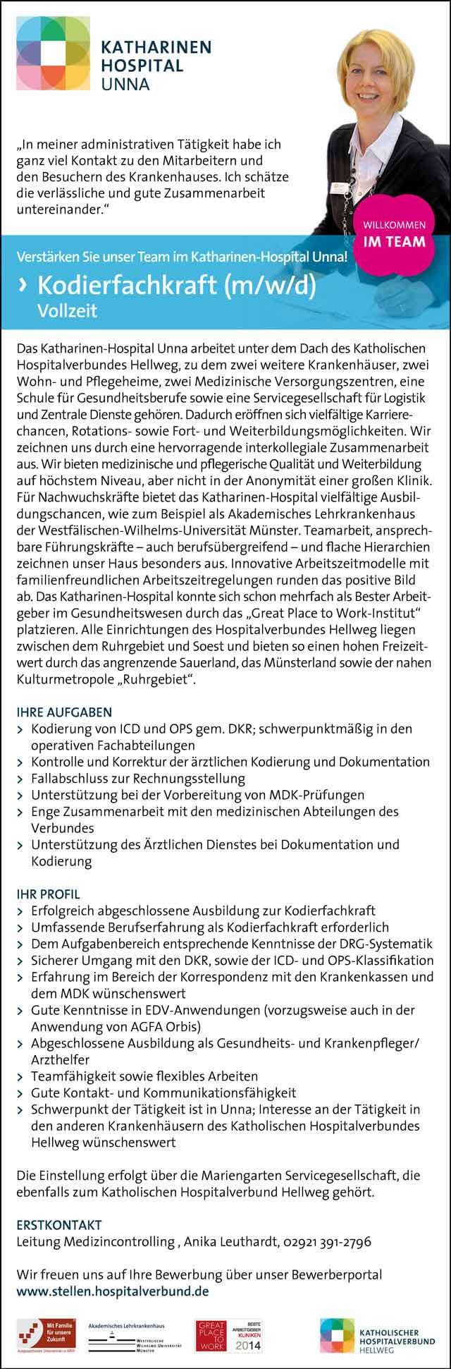 Katharinen-Hospital Unna: Kodierfachkraft (m/w/d)