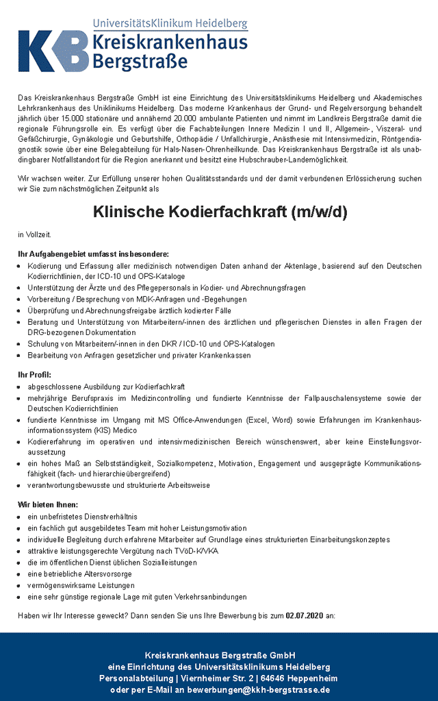 Kreiskrankenhaus Bergstraße GmbH: Klinische Kodierfachkraft (m/w/d)