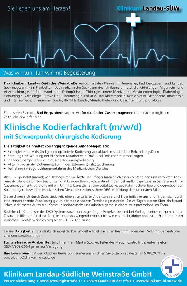 Klinikum Landau - Südliche Weinstraße: Klinische Kodierfachkraft (m/w/d)