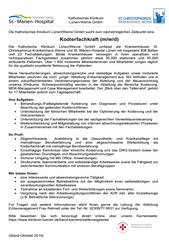 Katholisches Klinikum Lünen / Werne GmbH: Kodierfachkraft (m/w/d)