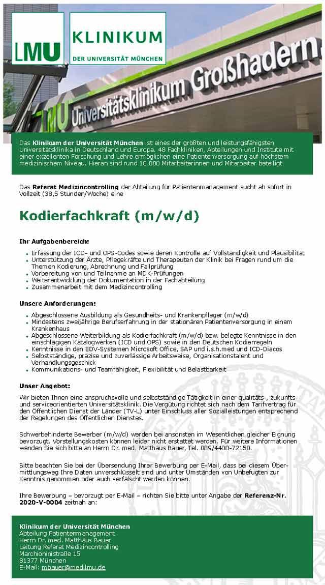 Klinikum der Universität München: Kodierfachkraft (m/w/d)