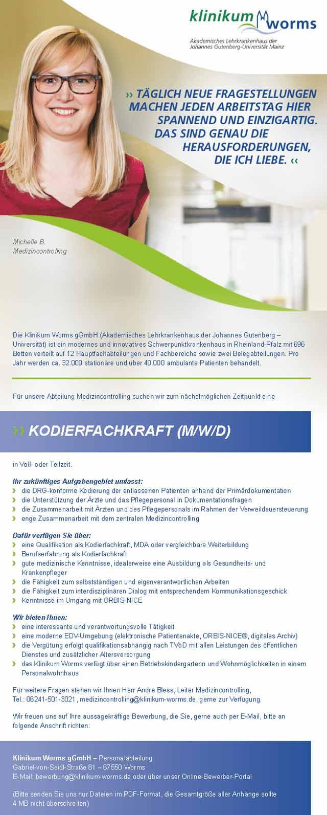 Klinikum Worms: Kodierfachkraft (m/w/d)