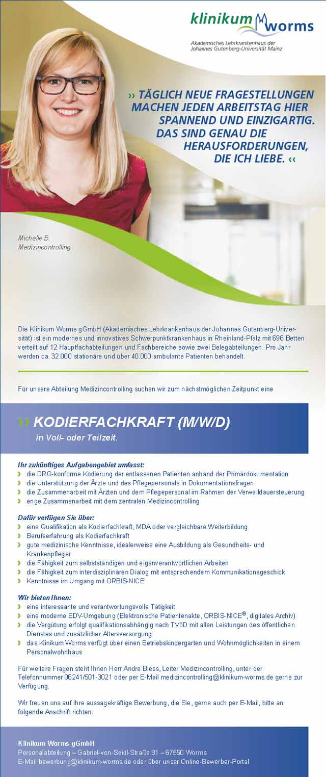 Klinikum Worms: Kodierfachkraft (m/w/d)