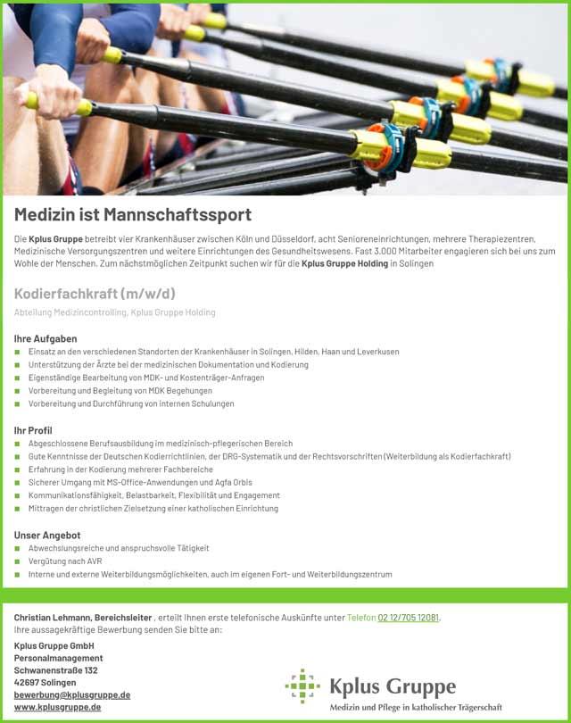 Kplus Gruppe Holding: Kodierfachkraft (m/w/d)