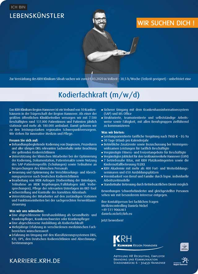 KRH Klinikum Siloah Hannover: Kodierfachkraft (m/w/d)