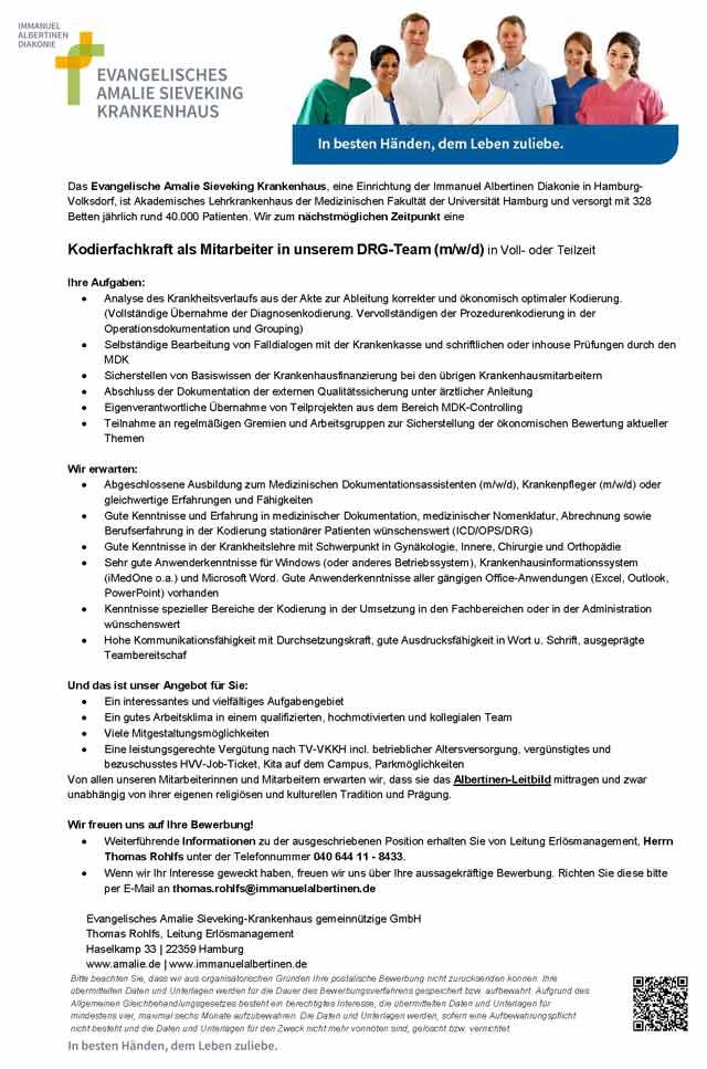 Evangelisches Amalie Sieveking Krankenhaus: Kodierfachkraft (m/w/d)