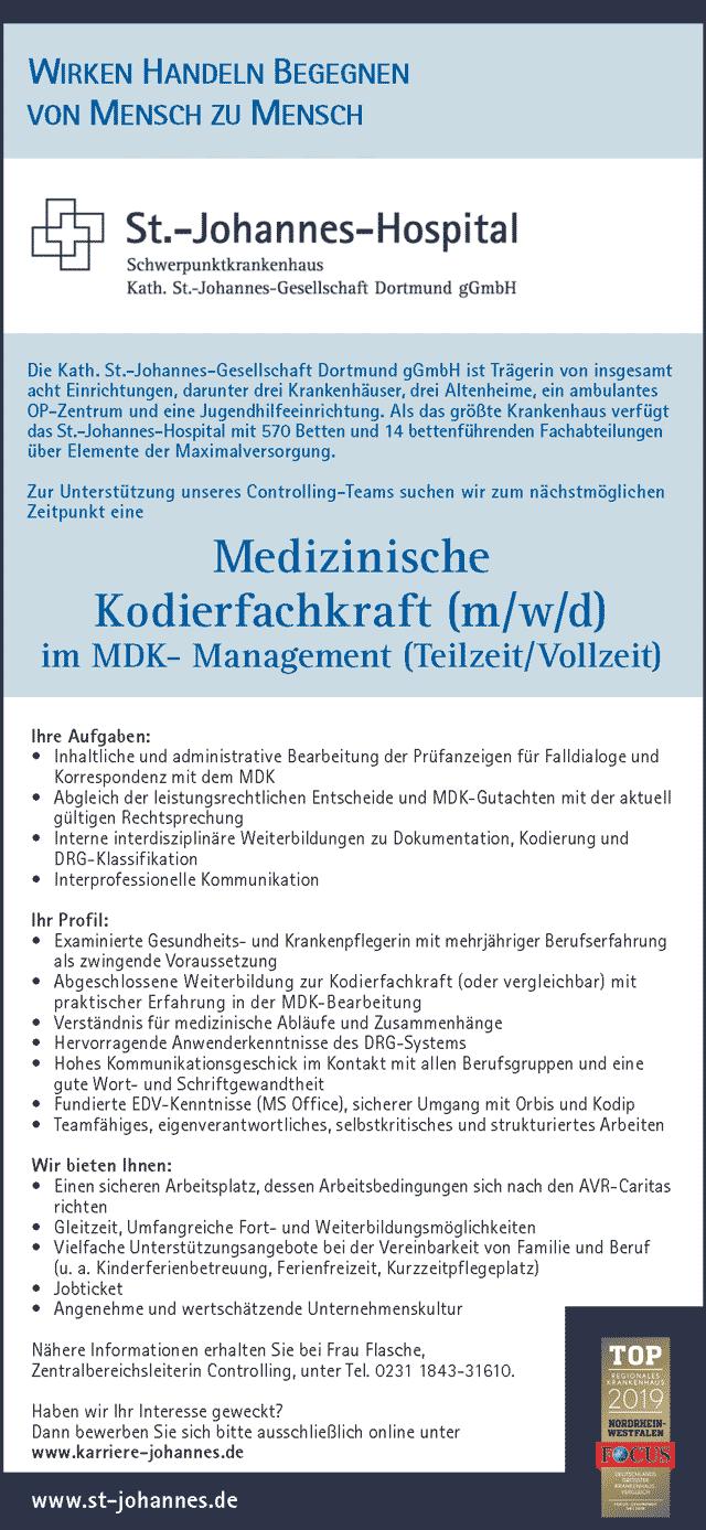 St.-Johannes-Hospital Dortmund: Medizinische Kodierfachkraft (m/w/d)