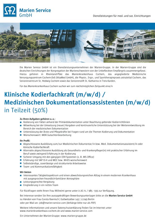 Marienkrankenhaus Cochem: Klinische Kodierfachkraft / Medizinischer Dokumentationsassistent (m/w/d)
