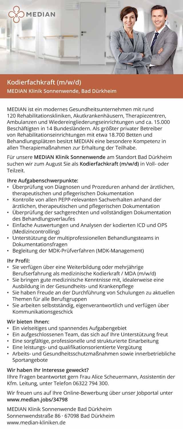 MEDIAN Klinik Sonnenwende: Kodierfachkraft  (m/w/d)