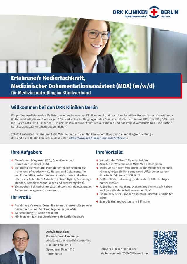 DRK Kliniken Berlin: Kodierfachkraft, Medizinischer Dokumentationsassistent (m/w/d)
