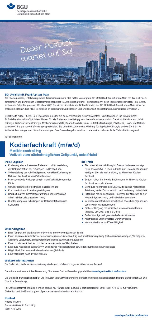 BG Unfallklinik Frankfurt am Main gGmbH: Kodierfachkraft (m/w/d)