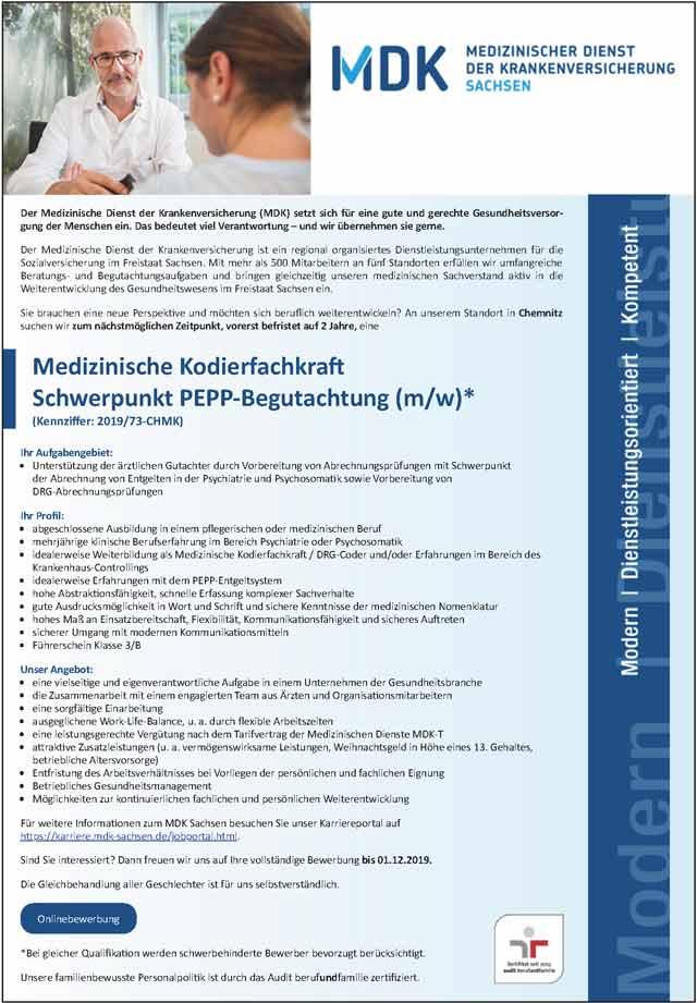 MDK Sachsen: Medizinische Kodierfachkraft (m/w/d)