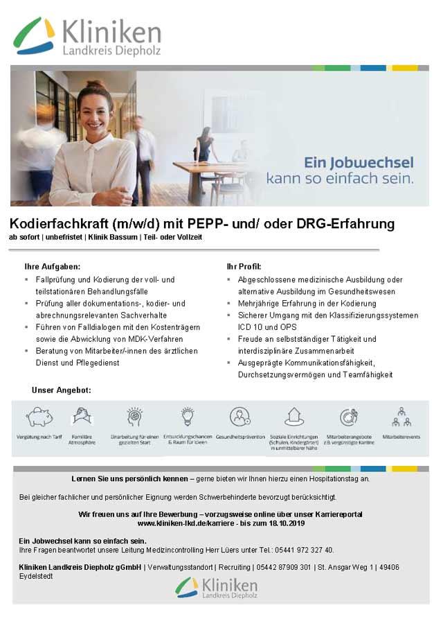 Kliniken Landkreis Diepholz gGmbH: Kodierfachkraft (m/w/d)