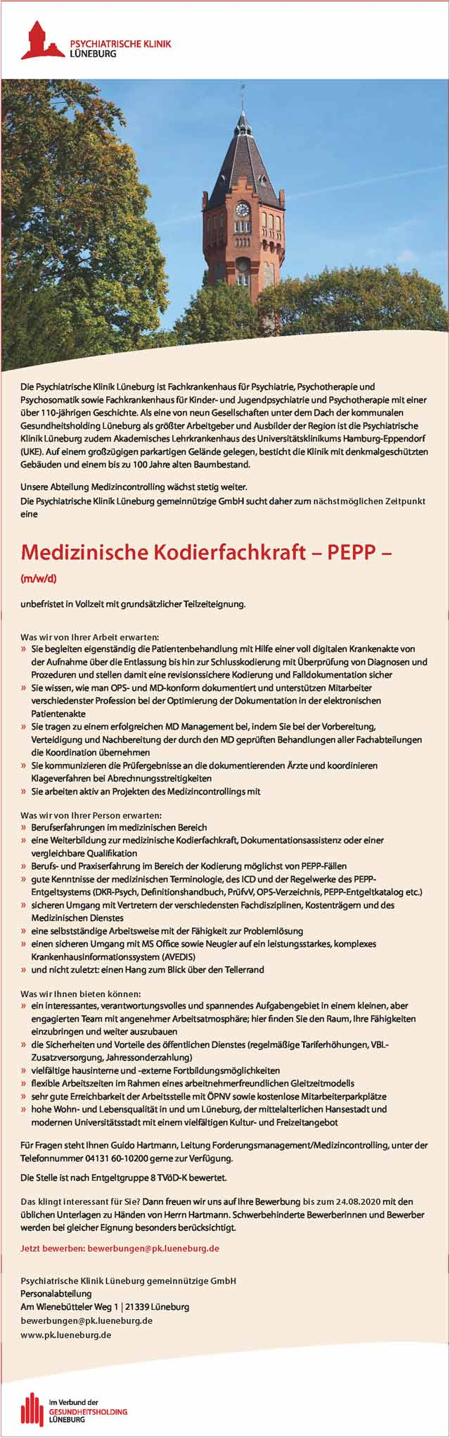Psychiatrische Klinik Lüneburg: Medizinische Kodierfachkraft PEPP (m/w/d)