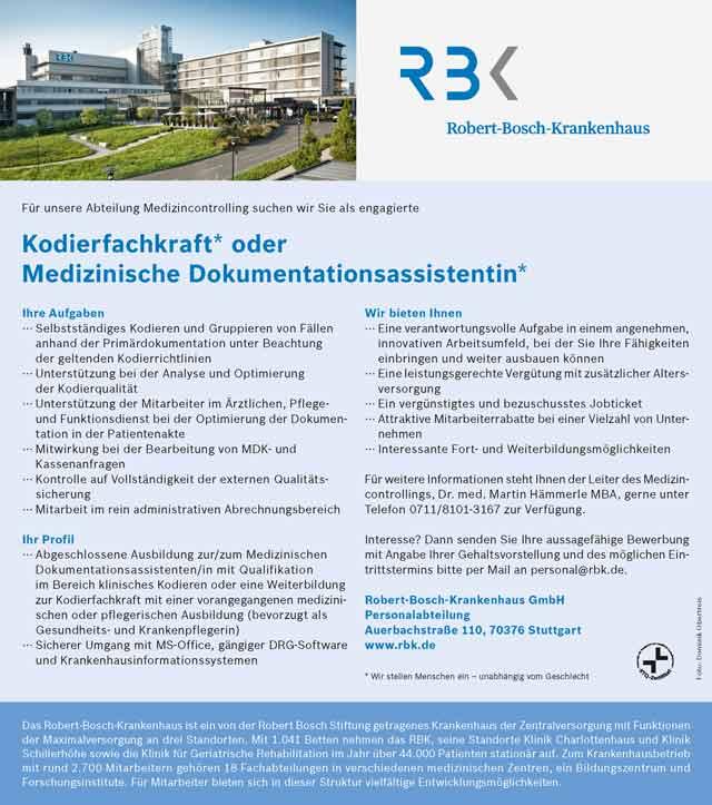 Robert-Bosch-Krankenhaus GmbH Stuttgart: Kodierfachkraft / Dokumentationsassistent (m/w/d)