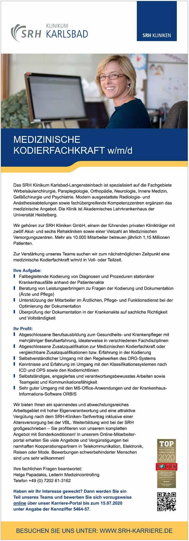 SRH Klinikum Karlsbad: Medizinische Kodierfachkraft (w/m/d)