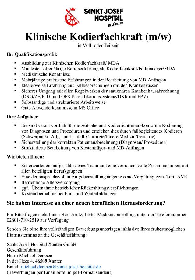 St. Josef-Hospital Xanten: Kodierfachkraft (m/w/d)