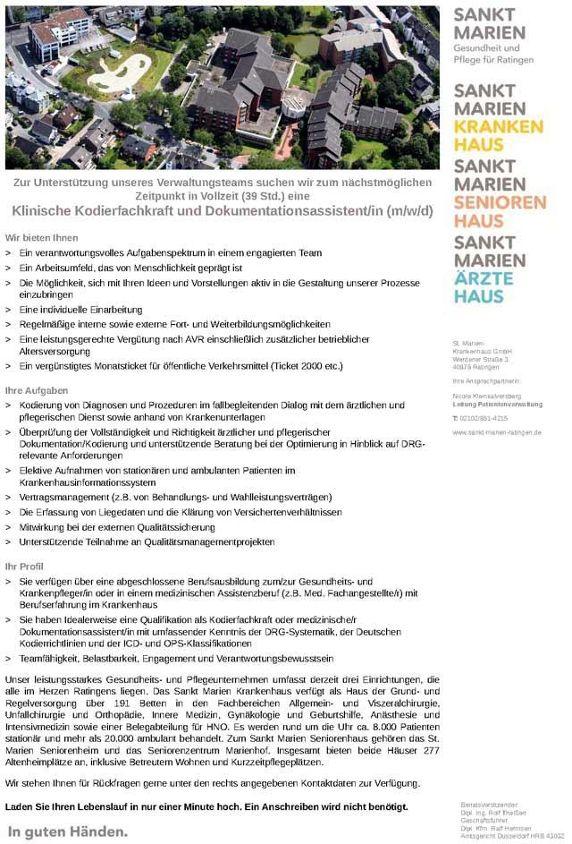 St. Marien-Krankenhaus GmbH: Klinische Kodier- und Dokumentationsfachkraft (m/w/d)