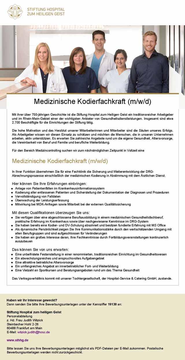 Stiftung Hospital zum heiligen Geist: Medizinische Kodierfachkraft (m/w/d)