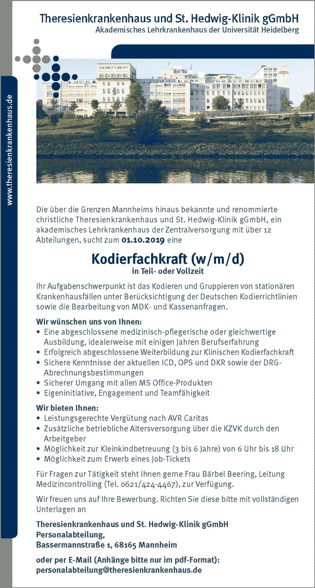 Theresienkrankenhaus und St. Hedwig-Klinik gGmbH: Kodierfachkraft (w/m/d)
