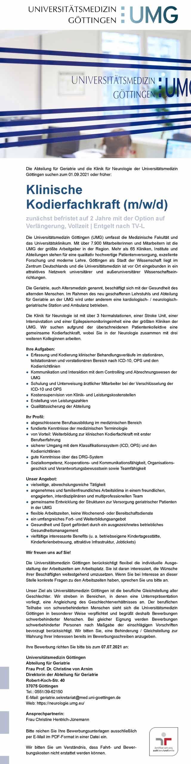 Universitätsmedizin Göttingen: Klinische Kodierfachkraft (m/w/d)