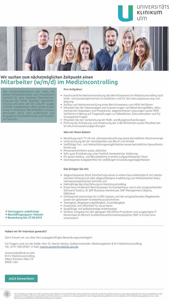 Universitätsklinikum Ulm: Mitarbeiter im Medizincontrolling (w/m/d)