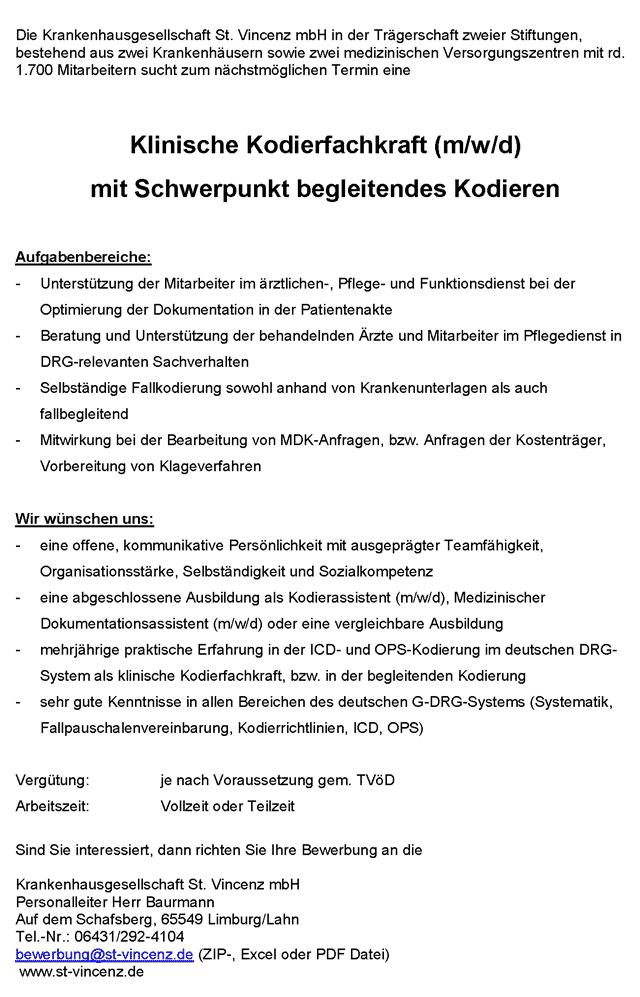 Krankenhausgesellschaft St. Vincenz mbH Limburg: Klinische Kodierfachkraft (m/w/d)