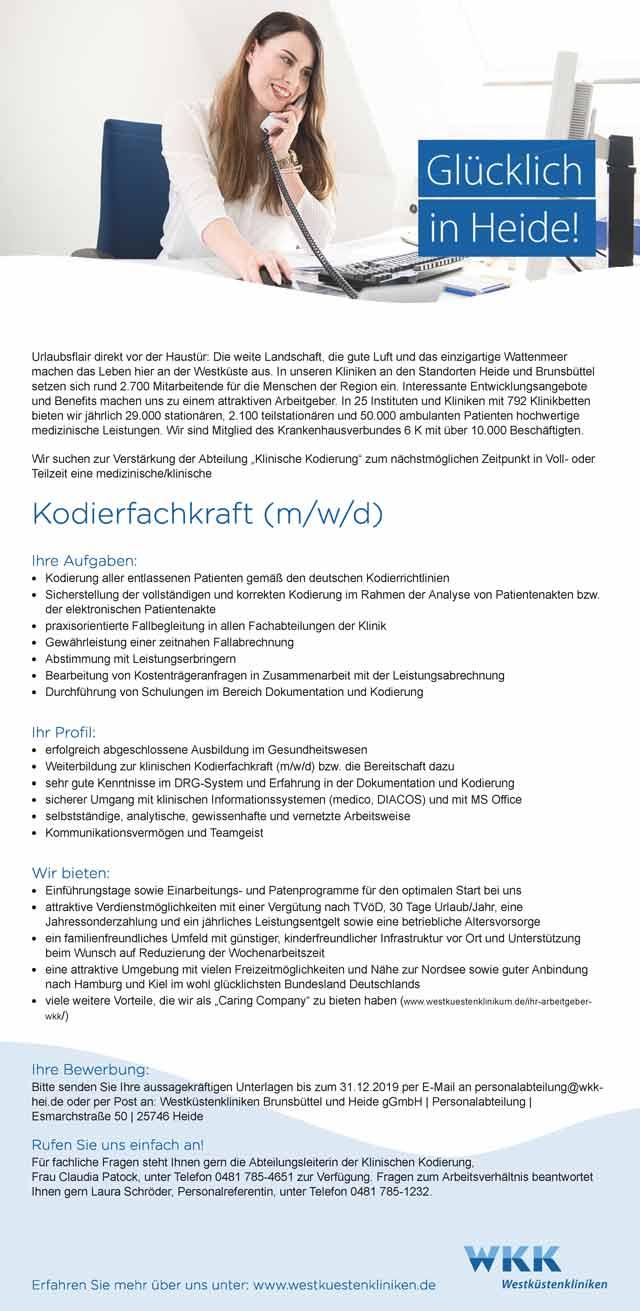 Westküstenkliniken Brunsbüttel und Heide gGmbH: Kodierfachkraft (m/w/d)