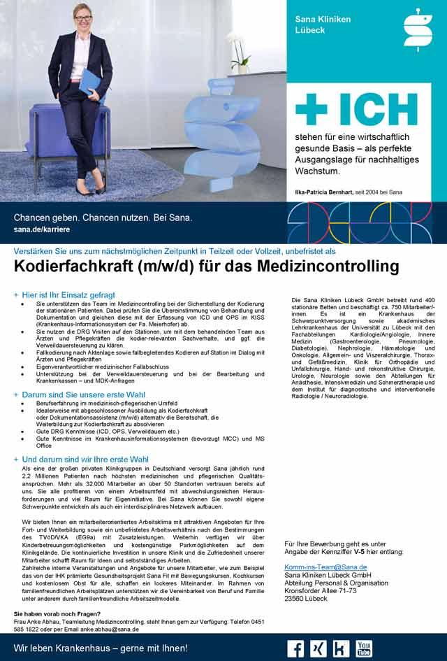 Sana Kliniken Lübeck GmbH: Kodierfachkraft (m/w/d)