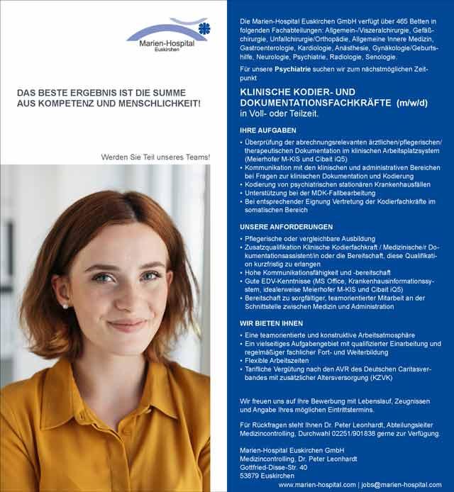 Marien-Hospital Euskirchen GmbH: Klinische Kodier- und Dokumentationsfachkräfte (m/w/d)