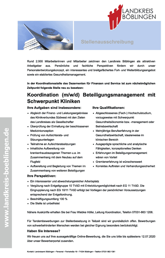 Landratsamt Böblingen: Koordinator Beteiligungsmanagement Schwerpunkt Kliniken (m/w/d)