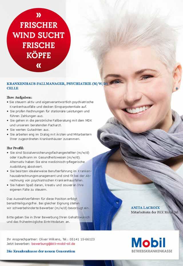 BKK Mobil Oil: Krankenhaus-Fallmanager Psychiatrie (m/w/d)