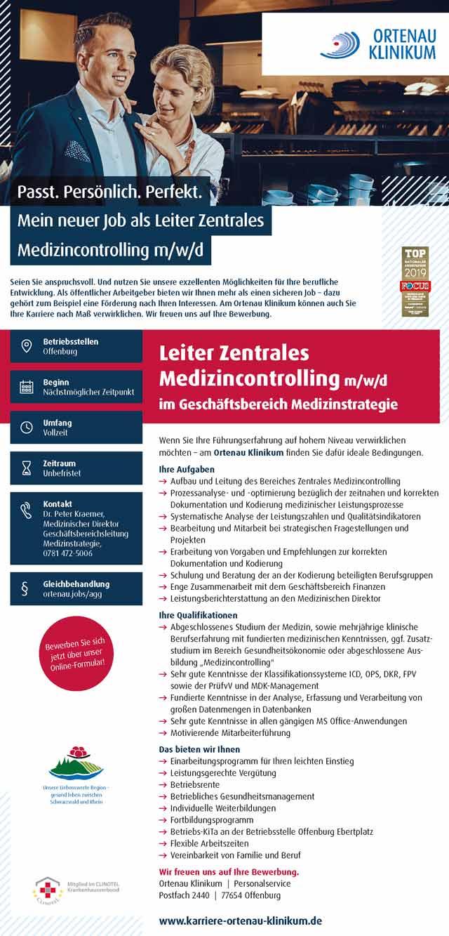Ortenau Klinikum Offenburg Kehl: Leiter Zentrales Medizincontrolling (m/w/d)
