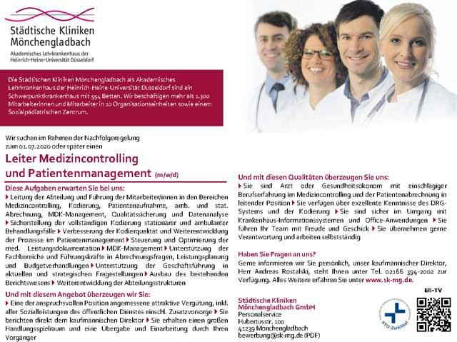 Städtische Kliniken Mönchengladbach GmbH: Leiter Medizincontrolling und Patientenmanagement (m/w/d)