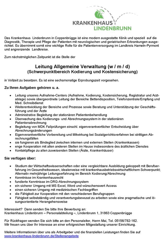 Krankenhaus Lindenbrunn: Leitung Allgemeine Verwaltung (w/m/d)