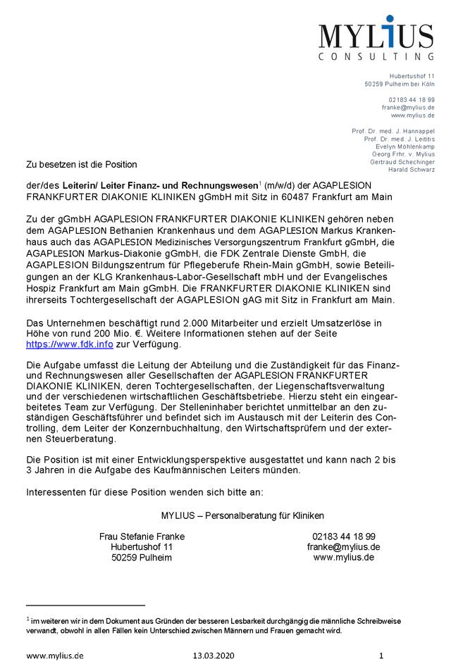AGAPLESION Frankfurter Diakonie Kliniken gGmbH: Leitung Finanz- und Rechnungswesen (m/w/d)