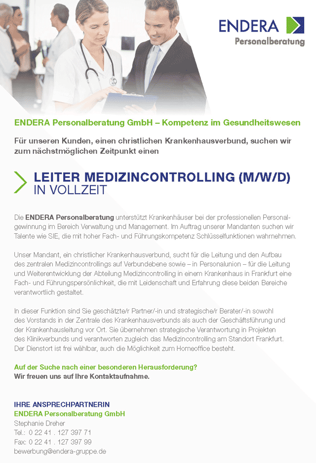 ENDERA Personalberatung GmbH Siegburg: Leitung Medizincontrolling (m/w/d)