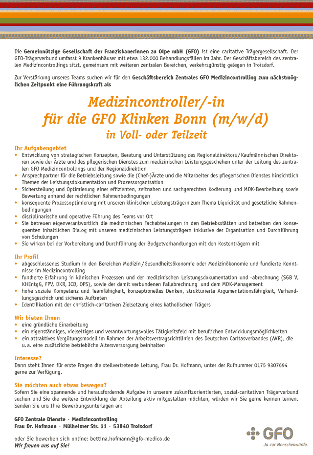 GFO Zentrale Dienste Troisdorf: Medizincontroller (m/w/d)