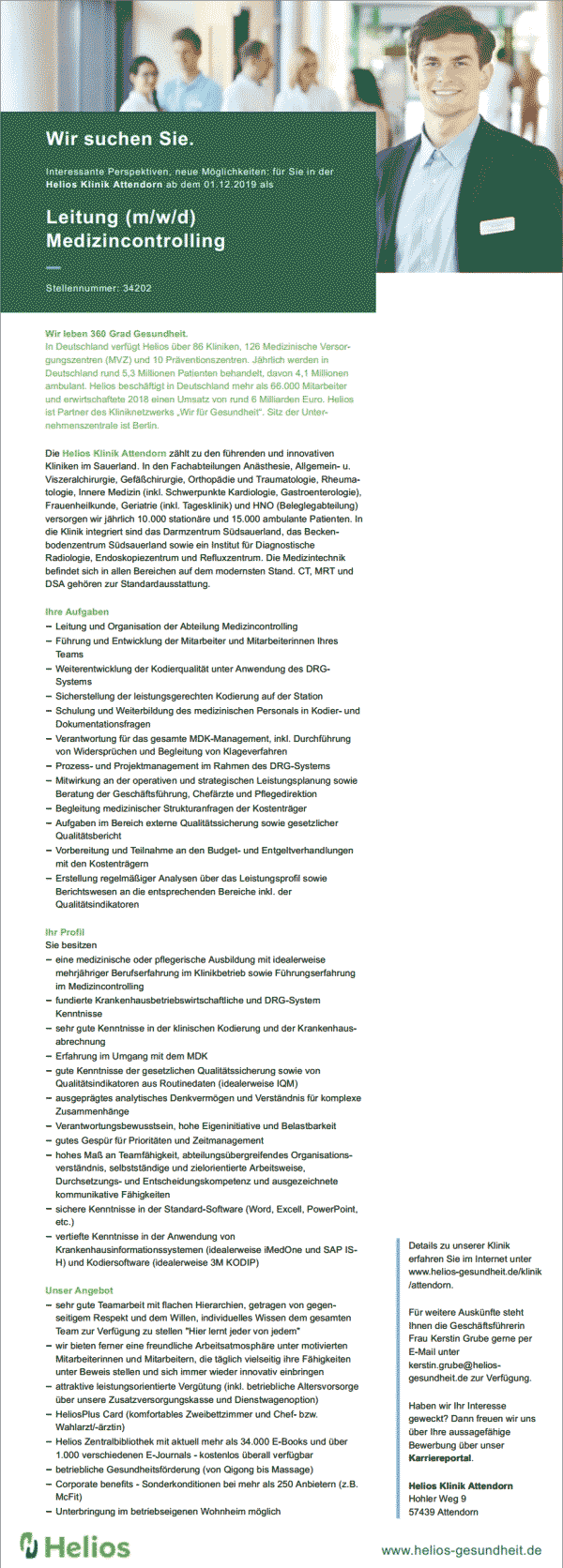 Helios Klinik Attendorn: Leitung Medizincontrolling (m/w/d)