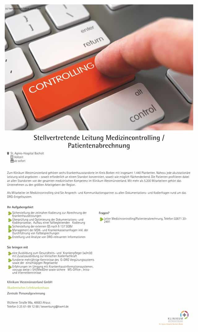 Klinikum Westmünsterland GmbH: Stellvertretende Leitung Medizincontrolling / Patientenabrechnung (m/w/d)