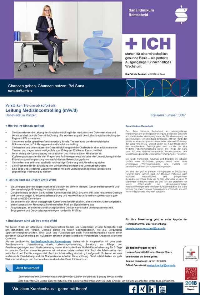 Sana Klinikum Remscheid GmbH: Leitung Medizincontrolling (m/w/d)