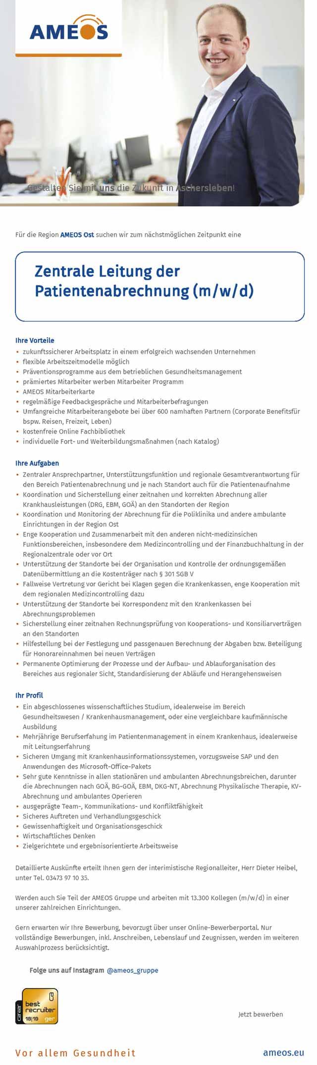 Ameos Ost Aschersleben: Zentrale Leitung Patientenabrechnung (m/w/d)